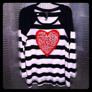 Black & White Stripe Tunic Sweater Red Heart NWT L